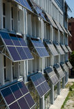 Solar panels. A fleet of solar panels on a building made stock photo