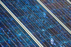 Solar panels on the foor. Selective focus royalty free stock photography