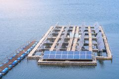 Solar panels generator the industry of modern energy in barrage, Ecologically clean sources of electrical energy.  stock photography
