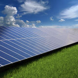 Solar panels on the grass Royalty Free Stock Photography