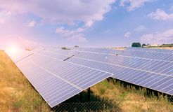 Solar panels green energy. Photovoltaic technology renewable energy concept. royalty free stock images