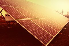 Solar panels. Green energy. Production of solar energy. Active solar. Renewable Energy.  royalty free stock images