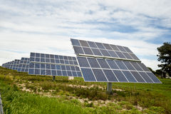 Solar panels for green energy. In a rural area Stock Photography