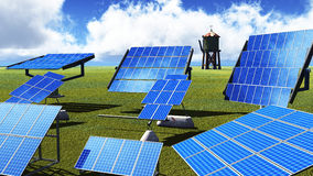 Solar panels on green grass Stock Image