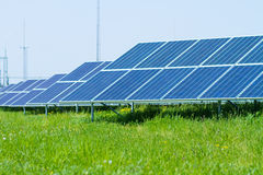 Solar panels on green grass Stock Photography