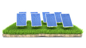 Solar panels on green grass and white background.  Royalty Free Stock Photos