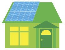 Solar Panels on Green House Illustration Stock Photos