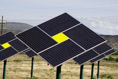 Solar panels green technology. Solar panels providing electrical power Royalty Free Stock Images