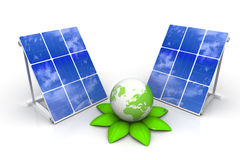 Solar panels with green world Royalty Free Stock Image
