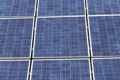 Solar panels in grid. Grid of solar panels in detail Royalty Free Stock Photos
