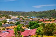 Solar panels on homes stock image