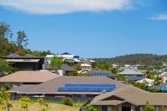 Solar panels on homes stock photos