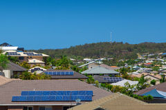 Solar panels on homes Royalty Free Stock Image