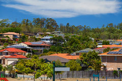 Solar panels on homes stock images