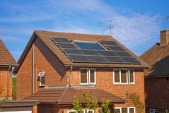 Solar panels on house Stock Photos