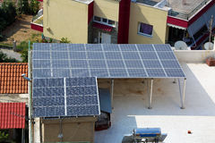Solar Panels on a House Roof. Solar Energy Panels on the Roof of a House in Greece Stock Images