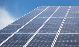 Solar panels on the house Roof. Solar energy plant Stock Photo