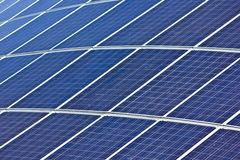 Solar panels. House roof with heat and power solar panels Stock Photos