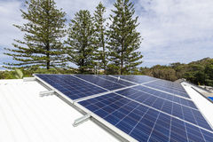 Solar panels on house roof. Solar panels on suburban home roof Stock Images