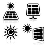 Solar panels icons. Eco power, green energy concept - solar panels blck clean glossy icons isolated on white background Stock Images