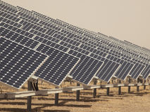 Solar Panels In A Power Plant Stock Photo