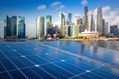 Free Solar Panels In The Modern City. Royalty Free Stock Photo - 55607355
