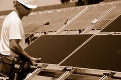 Solar Panels Installation Stock Images