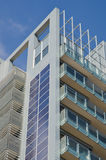 Solar panels. Installed on the exterior facade of a skyscraper Royalty Free Stock Image
