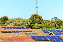 Solar panels installed on the roof. In South Australia Stock Photo