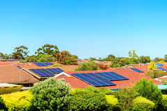 Solar panels installed on the roof. In South Australia Stock Photos