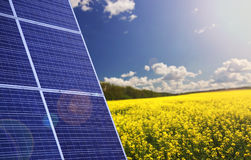Solar panels with landscape Royalty Free Stock Image