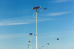 Solar panels on the lanterns, solar panels on the roads, alternative energy, Innovative Technology, energy, solar, nature, light, Stock Photography