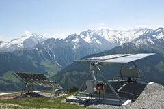 Solar panels at Latschenalm, Gerlos, Austria Stock Photography