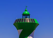 Solar panels on a lighthouse. In the port of Barcelona royalty free stock photography