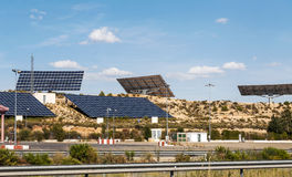 Solar panels. Located in the mountains of Guadalajara, on a sunny day Stock Image