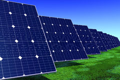 Solar panels on a meadow Royalty Free Stock Image