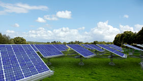 Solar panels in a meadow Stock Image