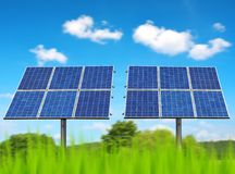 Solar panels on the meadow. Royalty Free Stock Photos