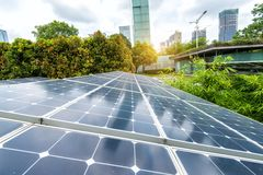 Solar Panels In Modern City Stock Images