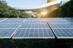 Solar Panels In Modern City Stock Photo