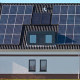 Solar panels on a modern house Royalty Free Stock Image