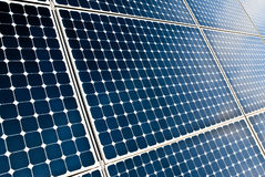 Solar panels modules. Close view of solar panel modules in perspective royalty free stock images