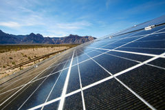 Solar panels in the Mojave Desert. Royalty Free Stock Images