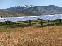 Solar Panels and Mountains Stock Image