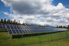 Solar panels in the mountains Royalty Free Stock Photo