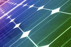 Solar panels. In multicolored spectrum light stock photos