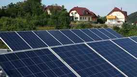 Solar panels with the nature in the back stock footage