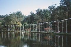 Solar panels near the lake stock photography