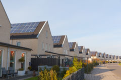 Solar Panels. New family homes with solar panels on the roof Stock Images