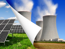 Solar panels and nuclear power plant Royalty Free Stock Images